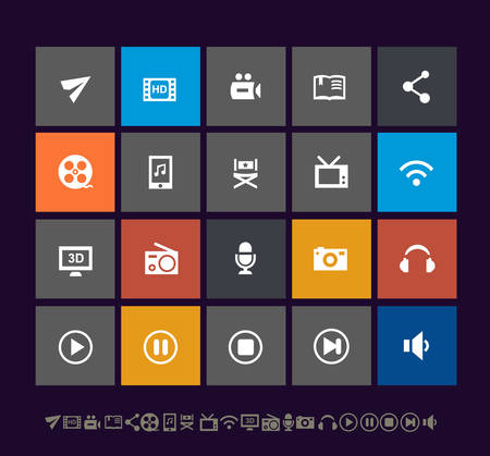 Trendy metro multimedia icons, for mobile user interfaces and applications
