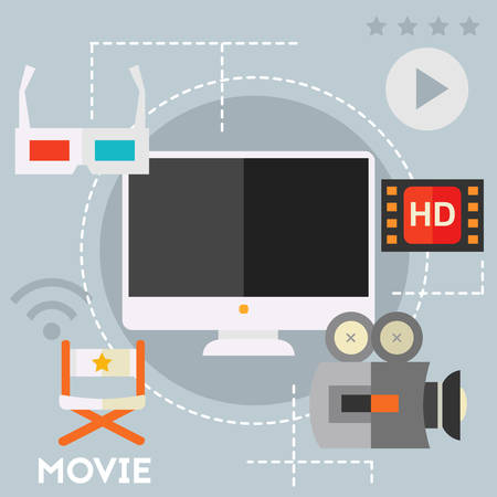 showreel: Concept of video production and motion graphic. Flat style vector illustration online web banner Illustration