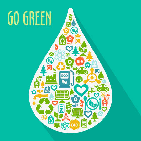 contained: Vector Go Green ecological illustration with water drop shape contained of ecology icons