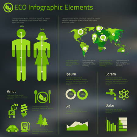 eco building: Abstract infographics template of human issues and ecological problems Illustration