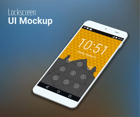 3d isometric flat design lockscreen mobile UI mock up, with triangular abstract geometric landscape background Illustration