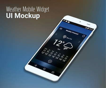 widget: 3d isometric flat design weather widget mobile UI mock up, on trendy blurred background