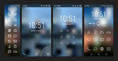 Trendy ligne en gras mobile smartphone modèle d'application de l'interface utilisateur, avec l'application de base et de wireframe ui gras icône de la ligne ensemble, sur fond flou. Bienvenue, serrure et la page d'accueil écrans