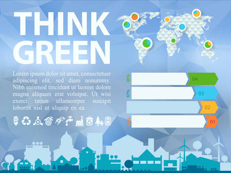 world village: Small town or village ecological illustration Think Green with infographics world map