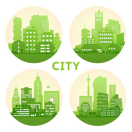 city landscape: Abstract stylish cityscape circle background.