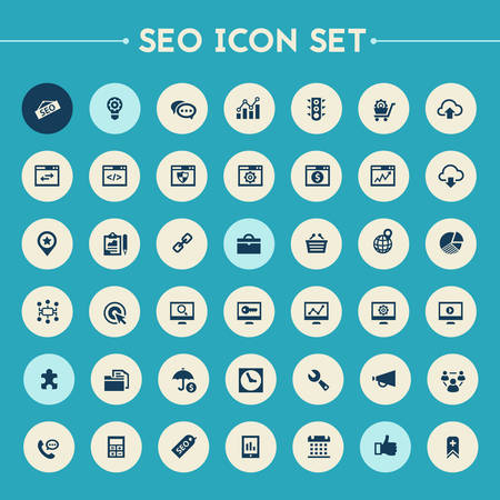 copywriting: Trendy flat design big SEO icons set on bright round buttons