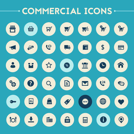 shopping questions: Trendy flat design big commercial icons set on bright round buttons Illustration