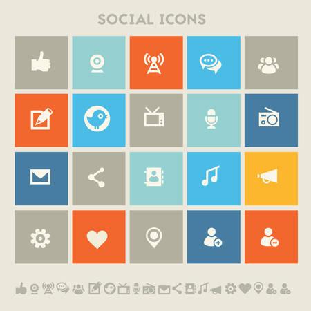 Modern flat design multicolored social icons collection Vektorové ilustrace