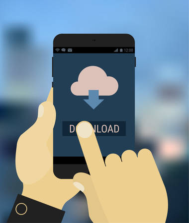 Flat design hands holding mobile device with downloading app, on trendy blurred background