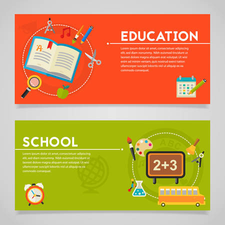 elearning: Classical education and library, high school education, back to school, e-learning concepts. Horizontal banners