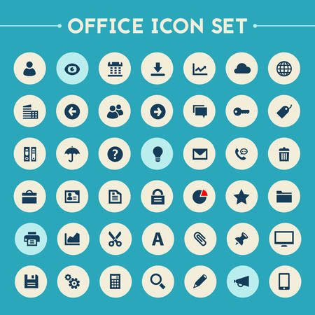 icons set: Trendy flat design big UI, UX and Office icons set on bright round buttons