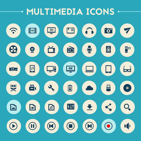 Trendy flat design big Multimedia icons set on bright round buttons