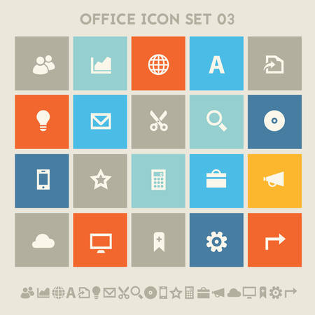 Modern flat design multicolored office 3 icons collection Illustration