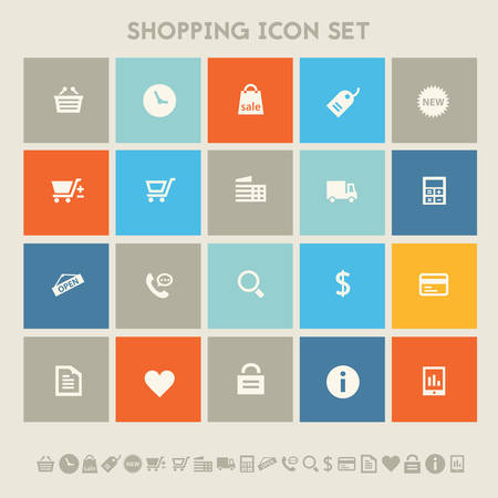 time account: Modern flat design multicolored shopping icons collection
