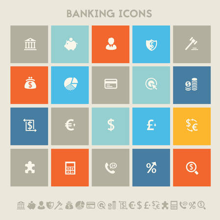 e auction: Modern flat design multicolored banking icons collection