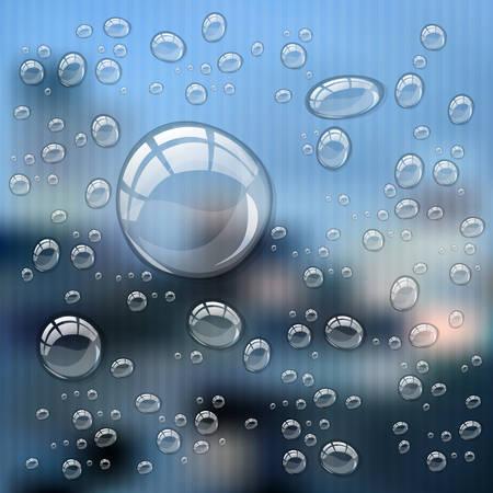 Transparente Wassertropfen auf different Hintergrund mit Platz für Text, 10 EPS