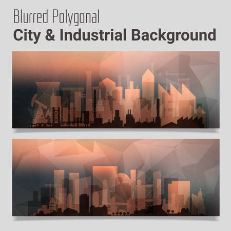 website backgrounds: Trendy blurred polygonal website header slider webdesign kit with city skyline and industrial backgrounds