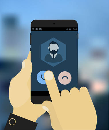 phone call: Flat design modern concept with hands holding mobile device with phone call application Illustration