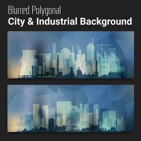 slider: Trendy blurred polygonal website header slider webdesign kit with city skyline and industrial backgrounds