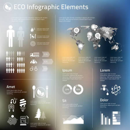 environmental issue: Abstract infographics template of human issues and ecological problems Illustration