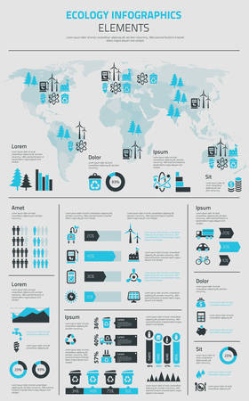 commercial recycling: Flat ecology infographics template with graph charts and diagrams, option banners, useful various object symbols and icons and vector world map Illustration