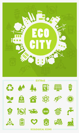 office products: Vector cartoon eco city, town concept with ecology icons