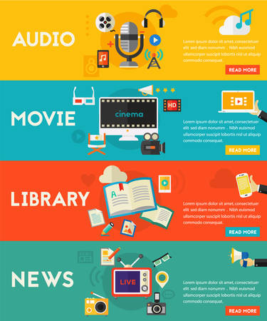 e book: Flat horizontal vector concept banners. Audio production and podcast, e-ibrary and distance learning, video production and motion graphic, news and reports concept Illustration
