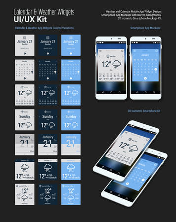 Flat design responsive calendar and weather mobile app widgets UI designs, with colored variations, smartphone mockups with trendy blurred backgrounds, with 3d isometric versions Illustration