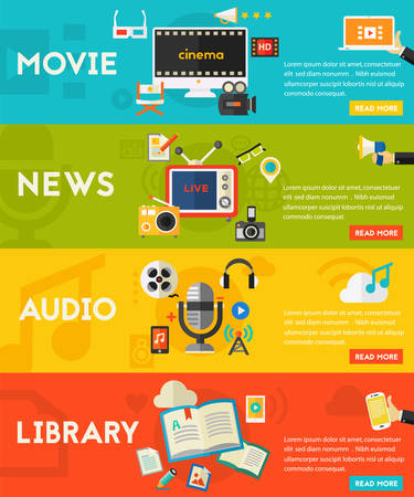 Flat horizontal vector concept banners. Audio production and podcast, e-ibrary and distance learning, video production and motion graphic, news and reports concept Illustration