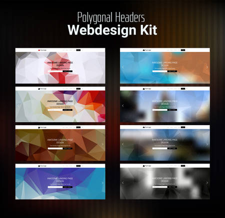 smartphone apps: Trendy blurred polygonal website header slider webdesign kit Illustration