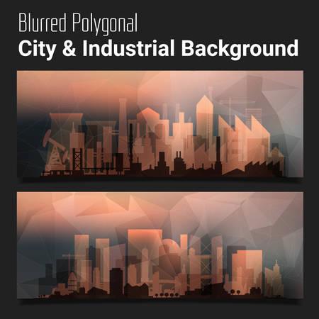 mobile website: Trendy blurred polygonal website header slider webdesign kit with city skyline and industrial backgrounds