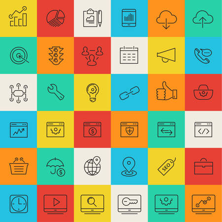 event icon: Simple thin line SEO icons on bright colored square buttons Illustration