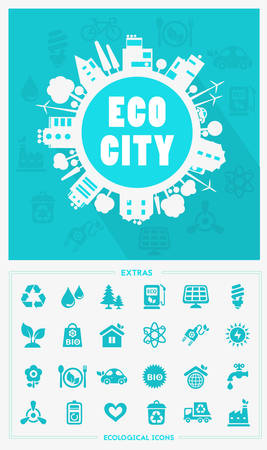 reusing: Vector cartoon eco city, town concept with ecology icons