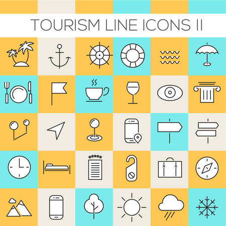 Thin line tourism icons on colored squares, set 2