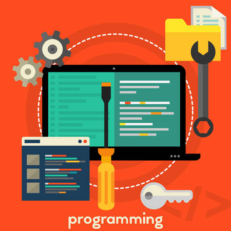 scripting: Programming, coding and scripting concept. Square composition banner