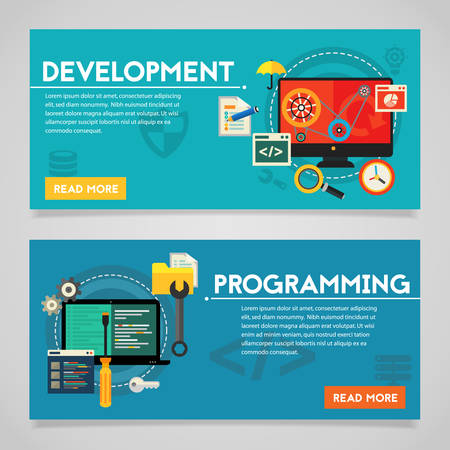 website banner: Programming and coding, scripting, graphic and webdesign, website development concepts. Horizontal banners