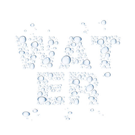 Transparent water drops, isolated on white background, easy to edit, 10 EPS