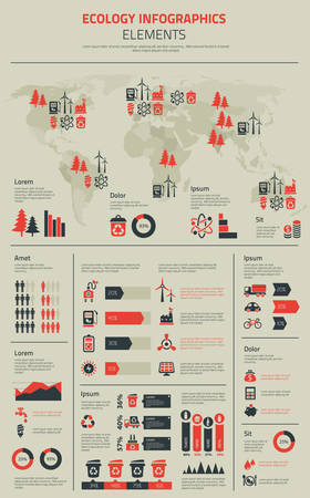 Flat ecology infographics template with graph charts and diagrams, option banners, useful various object symbols and icons and vector world map Illustration