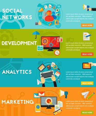 banderas concepto de vectores horizontales planas. Concepto de Marketing Digital - marketing social y la creación de redes, el desarrollo y la codificación, marketing digital y de correo electrónico, la analítica y SEO