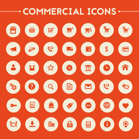 Trendy flat design big commercial icons set on round buttons Illustration