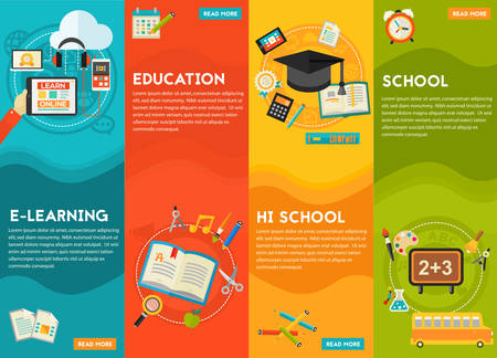 online education: Education Concept - Classical education and library, high school education, back to school, e-learning. Flat style vector illustration online web banner