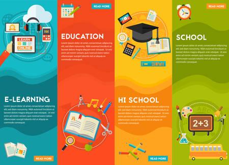 Koncepcja kształcenia - edukacja klasyczna i biblioteki, wysoka edukacja szkolna, z powrotem do szkoły, e-learning. Mieszkanie w stylu ilustracji wektorowych Internecie banner internetowy Ilustracje wektorowe