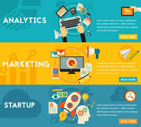 marketing concept: Flat horizontal vector concept banners. Digital Marketing Concept - digital and email marketing, analytics and SEO, startup launch