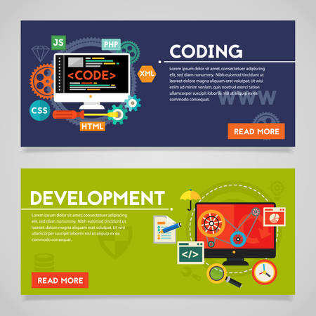 mobile app: Development and coding, scripting and website development concepts. Horizontal banners