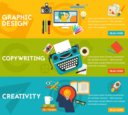 copywriting: Flat horizontal vector concept banners. Content Marketing Concept - graphic and webdesign, copywriting and creativity