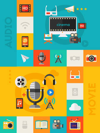 broadcasting: Audio and Video Production, Motion Graphic and Podcast concept. Flat material style vector illustration online web vertical banner with flat colored icons collection Illustration
