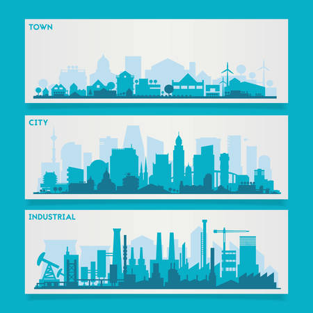 rural landscape: Vector horizontal banners skyline Kit with various parts of city - factories, refineries, power plants and small towns or suburbs. Illustration divided on layers for create parallax effect