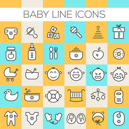 Thin line baby icons on colored squares
