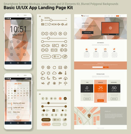 pixel perfect: Flat design responsive pixel perfect UI mobile app and website template with trendy polygonal header background, basic linear UI kit, calendar app widget Illustration