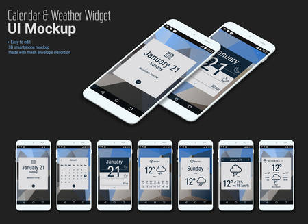 Flat design responsive calendar mobile app widgets UI designs, smartphone mockups with trendy polygonal backgrounds, with 3d isometric versions